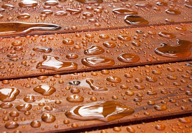 water on outdoor wood